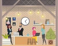 Mankvinnan diskuterar affär i Openspace Coworking stock illustrationer