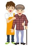 Manlig anhörigvårdare som stöttar höga män stock illustrationer