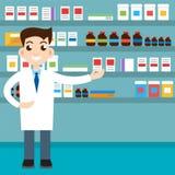 Manlig apotekare, mediciner också vektor för coreldrawillustration royaltyfri illustrationer