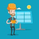 Manlig arbetare av solenergiväxten stock illustrationer