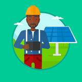 Manlig arbetare av solenergiväxten vektor illustrationer