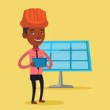 Manlig arbetare av solenergiväxten royaltyfri illustrationer