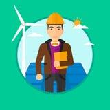 Manlig arbetare av solenergiväxten och vindlantgården vektor illustrationer