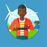 Manlig arbetare av solenergiväxten och vindlantgården stock illustrationer