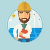 Manlig arbetare av solenergiväxten och vindlantgården royaltyfri illustrationer