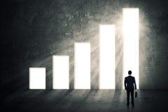Manlig arbetare och stigande finansiell graf Arkivbild