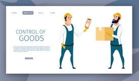 Manlig arbetarkontroll för lager av godsleveransen stock illustrationer