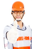 Manlig arbetarshow en handskakning Royaltyfria Bilder