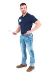 Manlig arbetsledarehandstil på skrivplattan Arkivfoton