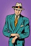 Manlig armbandsurtid för Retro affär royaltyfri illustrationer