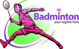 Manlig badmintonspelare vektor illustrationer