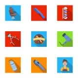 Manlig barberare, symbol, clipper och annan utrustning för frisering Fastställda samlingssymboler för frisersalong i plan stilvek Arkivfoto