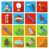 Manlig barberare, symbol, clipper och annan utrustning för frisering Fastställda samlingssymboler för frisersalong i plan stilvek Arkivfoton