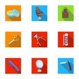 Manlig barberare, symbol, clipper och annan utrustning för frisering Fastställda samlingssymboler för frisersalong i plan stilvek Royaltyfri Fotografi