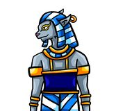 Manlig Bastet egyptiergud royaltyfri illustrationer