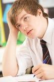 manlig belastat studera för deltagare som är tonårs- royaltyfria foton