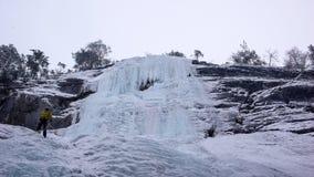 Manlig berghandbok som rappelling av en brant fryst vattenfall efter en isklättringutfärd Arkivbilder