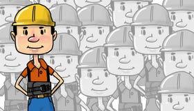 Manlig byggnadsarbetare i gul hjälmmodell vektor illustrationer