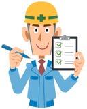 Manlig byggnadsarbetareinnehavkontrollista i hand vektor illustrationer