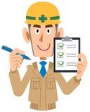 Manlig byggnadsarbetareinnehavkontrollista i hand royaltyfri illustrationer