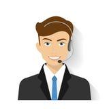 Manlig call centeroperatör royaltyfri illustrationer