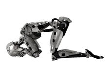 manlig Cyborg för illustration 3D på vit Royaltyfri Foto