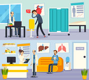 Manlig doktor Character Flat Compositions vektor illustrationer