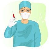 Manlig doktor, kirurg eller sjuksköterska i framsidamaskeringen som rymmer en injektionsspruta royaltyfri illustrationer