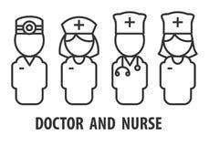 Manlig doktor och sjuksköterska stock illustrationer