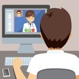 Manlig doktor Online Computer royaltyfri illustrationer