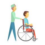 Manlig doktor som skjuter rörelsehindrat mansammanträde på rullstolen Färgrika tecknad filmtecken royaltyfri illustrationer