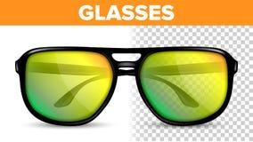 Manlig exponeringsglasvektor för man Kalla exponeringsglas för Hipsterram Modetillbehör Genomskinlig realistisk illustration 3D stock illustrationer