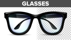 Manlig exponeringsglasvektor för man Svarta klassiska Eyewearexponeringsglas Vision optiska Lens Genomskinlig realistisk illustra vektor illustrationer