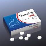 Manlig extra preventivpiller vektor illustrationer