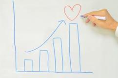 manlig för förälskelse för increase för hand för pilteckningsgraf Arkivfoto