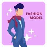Manlig Flat Vector Poster för modemodell mall stock illustrationer