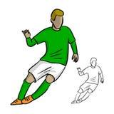 Manlig fotbollspelare med den gröna ärmlös tröja som spelar modig vektorillustr Royaltyfria Foton