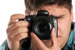 Manlig fotograf Shooting Royaltyfri Foto