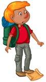 Manlig fotvandrare med ryggsäcken och översikten vektor illustrationer