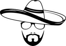Manlig framsida i en sombrero Symbol för hipsterstil stock illustrationer