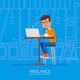 Manlig freelancer som avlägset arbetar från hans skrivbord Vektorillustration i plan stildesign Dator i vitbakgrund card grund sh royaltyfri illustrationer