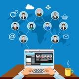 Manlig freelancer som avlägset arbetar med klienter stock illustrationer