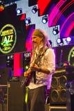 Manlig gitarrist In Concert arkivfoton