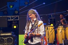 Manlig gitarrist In Concert arkivfoto