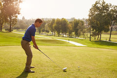 Manlig golfare som ställer upp utslagsplatsen som skjutas på golfbana Royaltyfri Foto