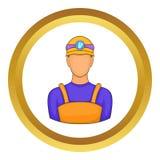 Manlig gruvarbetaresymbol stock illustrationer