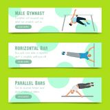 Manlig gymnastupps?ttning av banervektorillustrationen Konkurrenskraftigt gymnastiskt Horisontalst?ng Barr Balansbom stock illustrationer