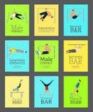Manlig gymnastupps?ttning av kortvektorillustrationen Konkurrenskraftigt gymnastiskt Horisontalst?ng Barr Balansbom vektor illustrationer