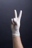 Manlig hand i latexhandske royaltyfria bilder