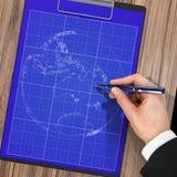Manlig hand med pennritningen planet Royaltyfri Foto